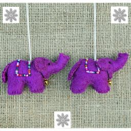 Felt - Christmas Decoration - Elephant - Purple