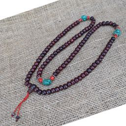 Mala beads - rosewood - red coral and turquoise