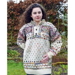 One off wonder - wool and reclaimed silk with buttons - diamond and tick pattern jumper - cream