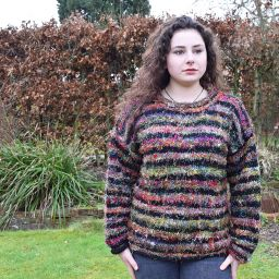 One off wonder - wool and reclaimed silk - stripe jumper - black