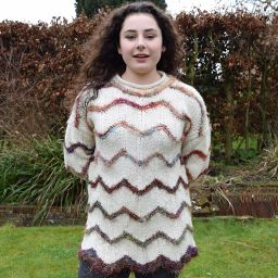 One off wonder - wool and reclaimed silk - zigzag pattern jumper - cream