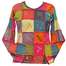 Hand embroidered - patchwork top - multicolours