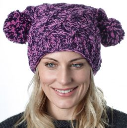 Square cable pom pom hat - hand knitted - pure wool - fleece lining - pink / purple