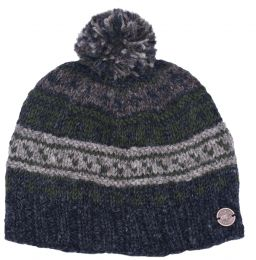 Pattern ridge bobble hat - pure wool - fleece lining - greys / green