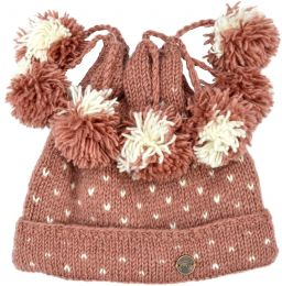 Seven bobble tick hat - pure wool - hand knitted - fleece lining - blush
