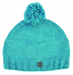 Classic bobble hat - hand knitted - fleece lining - turquoise