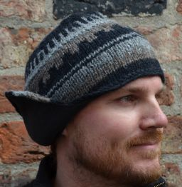 Half fleece lined - helmet hat - Dark Natural