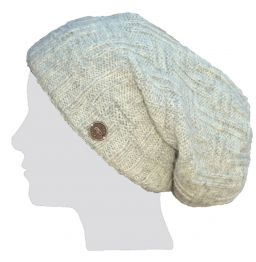 half fleece lined - basket weave slouch - Pale natural