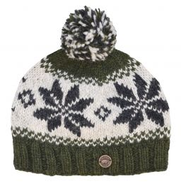 Snowflake bobble hat - pure wool - fleece lining - green / natural