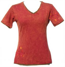***SALE*** - Embroidered Double Edged T-Shirt - Brick Red