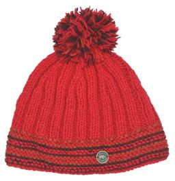 half fleece lined - ribbed bobble hat - red