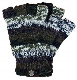 Pure wool - electric stripe - fingerless gloves - green/natural