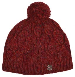 Hand knit - heather leaf bobble hat - Rust heather