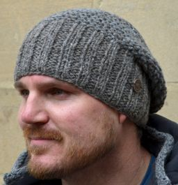 Hand knit - moss two tone - baggy beanie - Marl brown