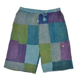 Plain patchwork shorts - blues
