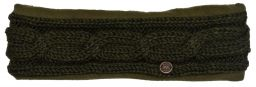 Fleece lined headband - cable - Dark green