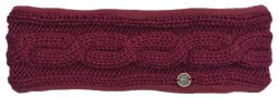 Fleece lined headband - cable - Berry