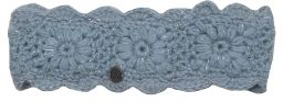 Fleece lined - headband - crochet sparkle - Powder Blue