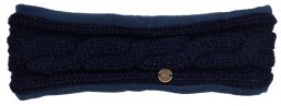 Fleece lined headband - cable - Dark blue