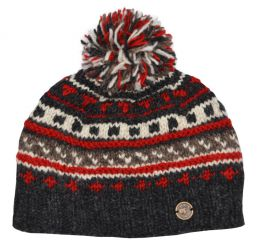 Half fleece lined - pattern ridge bobble hat - Greys/Red