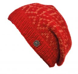 Hand knit - diamond bands - baggy beanie - spice