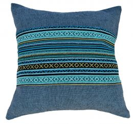 Filled Cushion - cotton Gheri Panel - Denim Blue