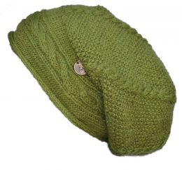 Pure wool - half fleece lined - cable slouch - green