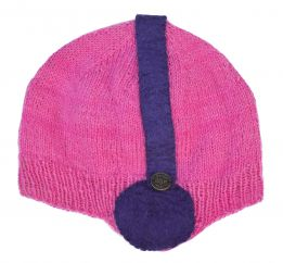 Hand knit - stereo hat - Pink
