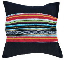 Cushion cover - cotton Gheri Panel - Cover Black