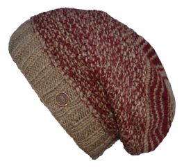 Jellybean slouch hat - pure wool - truffle/deeep red