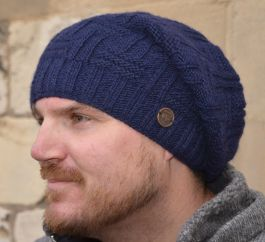 half fleece lined - basket weave slouch - Dark blue