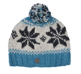 Snowflake bobble hat - pure wool - fleece lining - aqua / natural