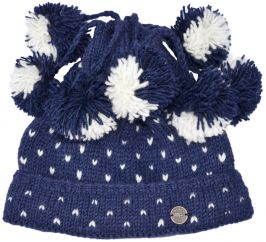 Seven bobble tick hat - pure wool - hand knitted - fleece lining - blue