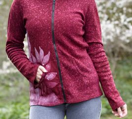 Batik flower - hooded jacket - raspberry