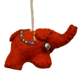 Felt - Christmas Decoration - Elephant - Orange