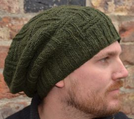 half fleece lined - basket weave slouch - Dark Green