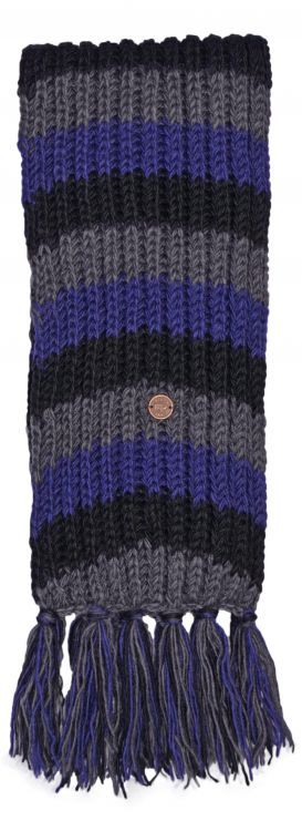 Long length - hand knit - striped Scarf - blue/black/grey