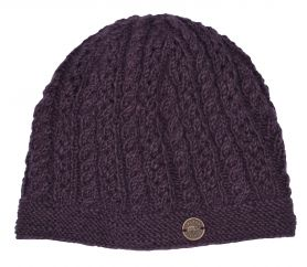 Lace cable beanie - hand knitted - pure wool - grape