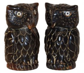 Chunky Hand carved - dark Owl - decorative thimble