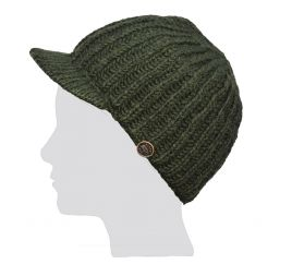 Hand knit - pure wool - ribbed - peak hat - Dark green