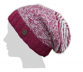 Jellybean slouch hat - pure wool - berry/white