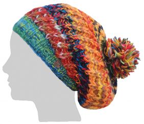 Pure wool - chunky rib slouch - Green Multi coloured