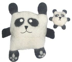 Panda and cub - Felt Cushions - black/white