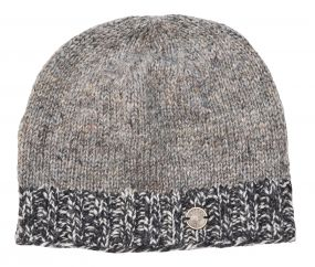 Half fleece lined - Heather mix - contrast edge - beanie - grey mix