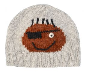 Face beanie - pure wool - hand knitted - fleece lining - Percival