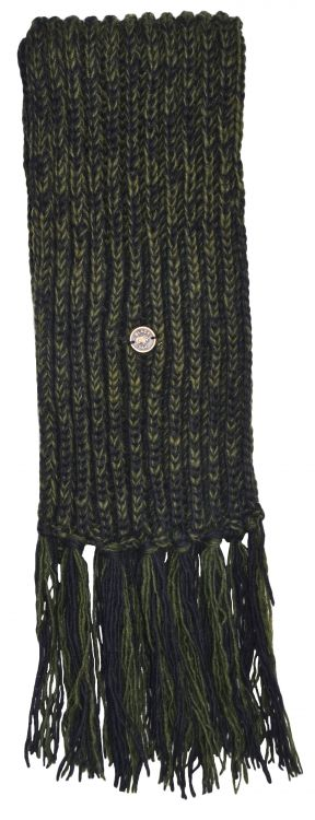 Long - pure wool scarf - Green/Black