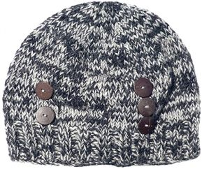 Half fleece lined - hand knit - two tone button beanie - Grey
