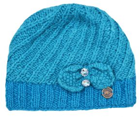 Pure wool - Bow Sparkle Beanie - Turquoise