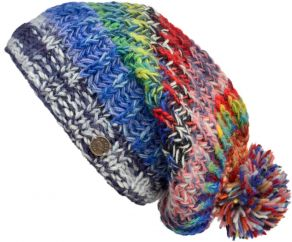 Pure wool - chunky rib slouch - Bright Multi coloured