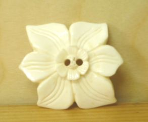 Hand carved - Large Flower - Button